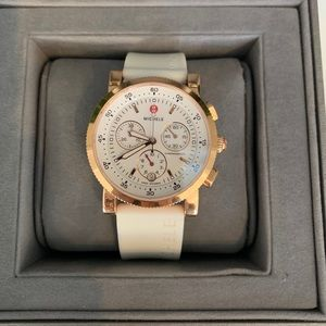 MICHELE Rose Gold w/White Silicone Band
